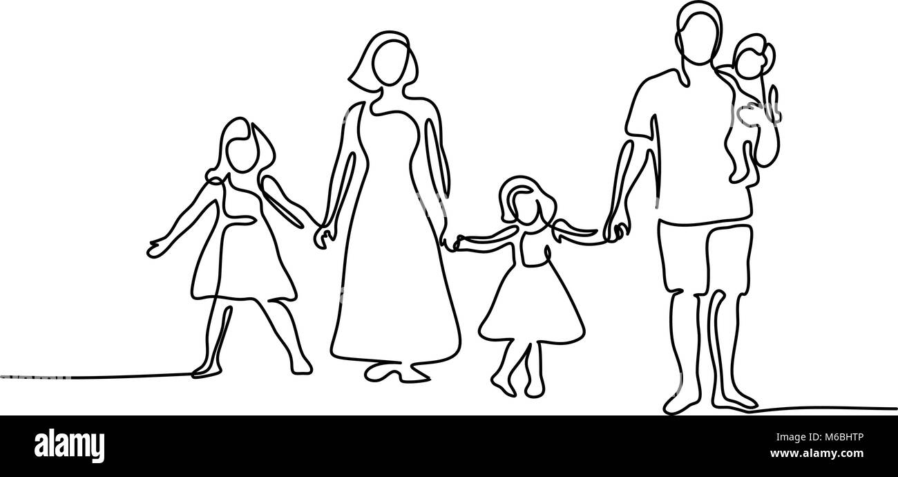Happy family with three children - Stock Vector