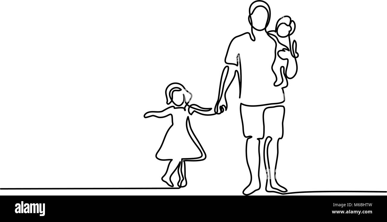 Father with son daughter silhouette - Stock Image