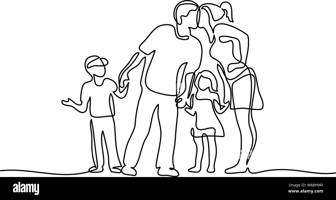 Happy family with two children - Stock Vector