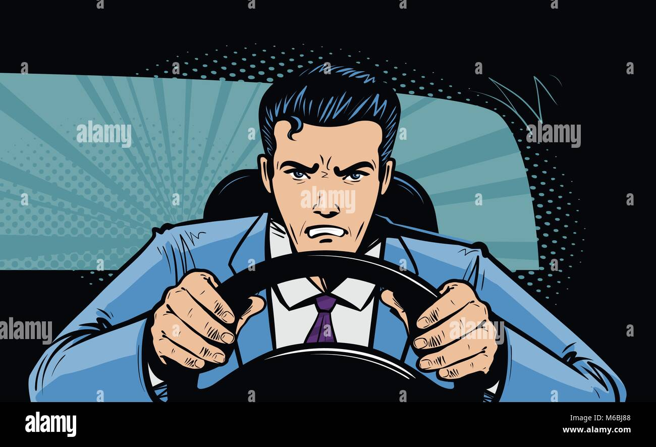 Aggressive driver behind the wheel of car. Race, pursuit in pop art retro comic style. Cartoon vector illustration - Stock Image
