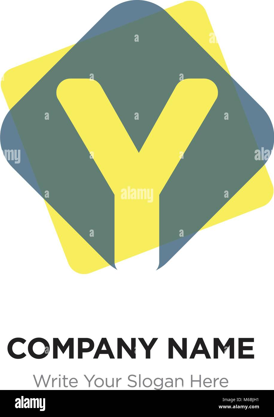 abstract letter y logo design template yellow vector icon on dark background stock