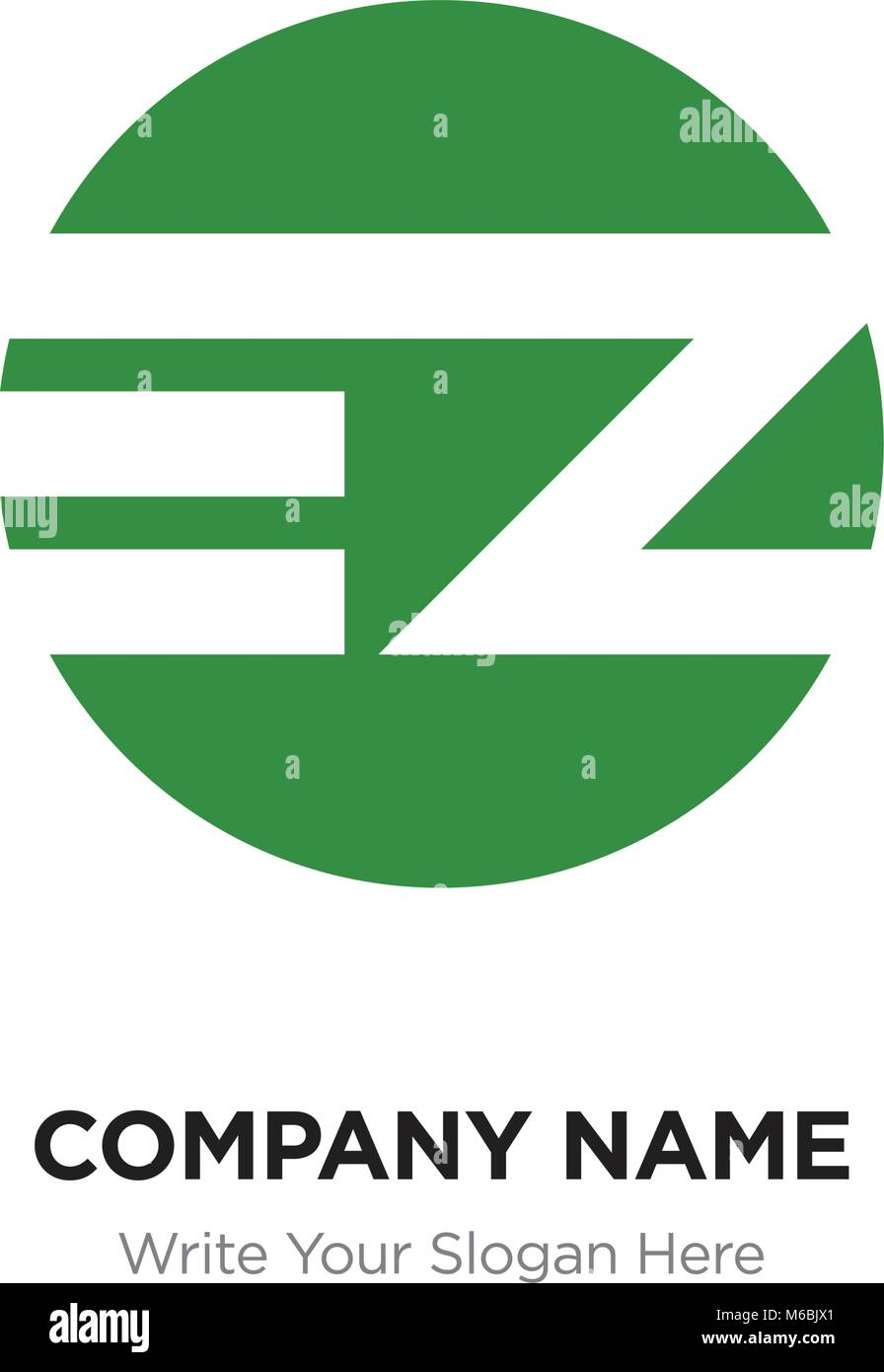 Abstract letter EZ ZE logo design template, green Alphabet initial letters company name concept. Flat thin line Stock Vector