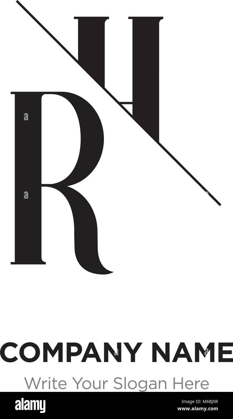 Abstract letter RH,HR logo design template, black&white