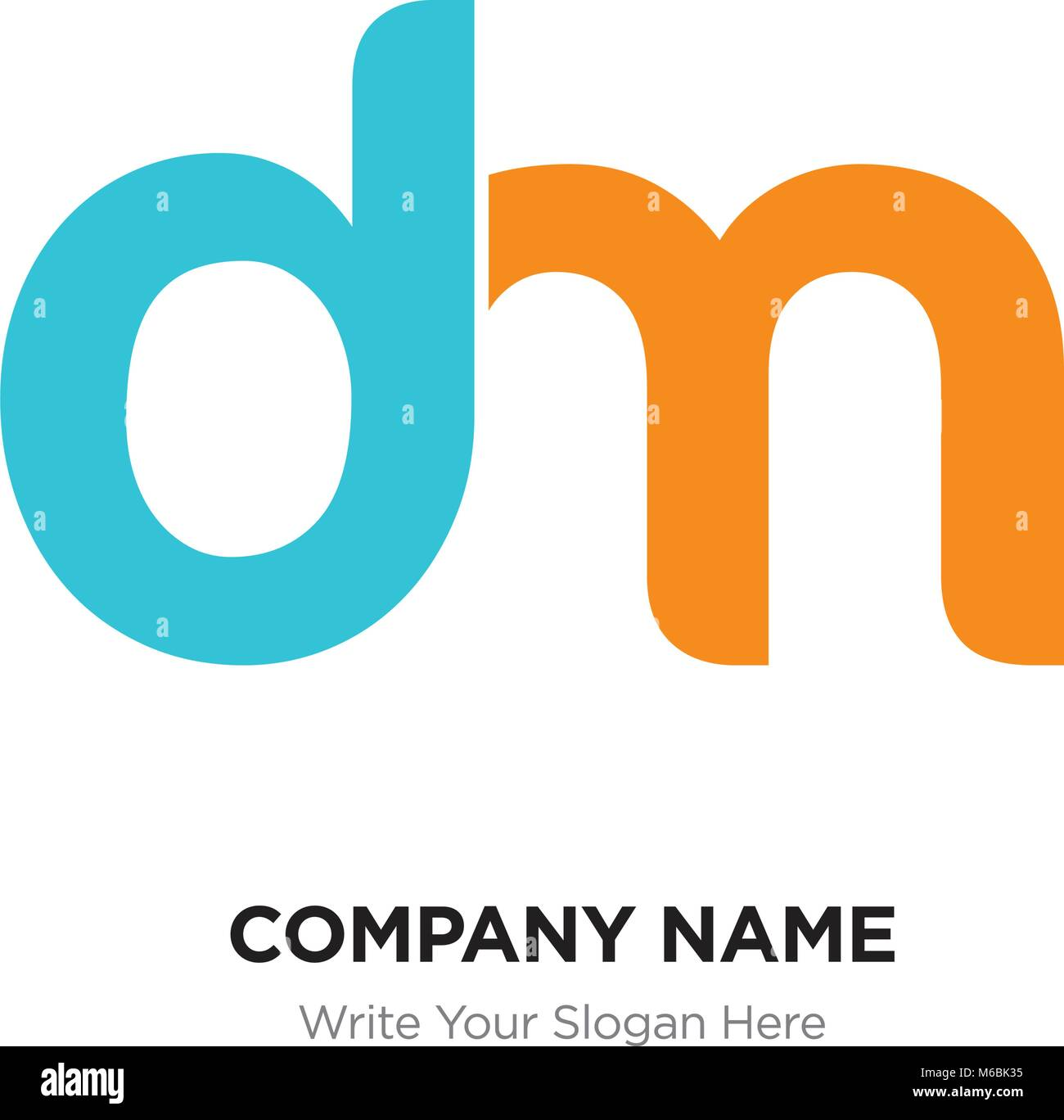 abstract letter dm md logo design template blue yellow alphabet initial letters company name concept flat thin line segments connected to each ot
