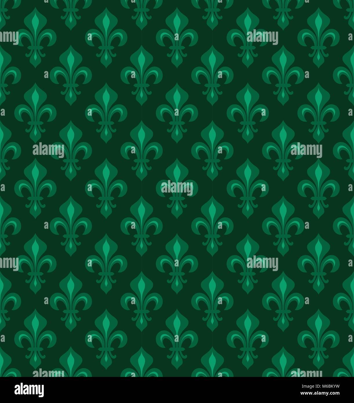 Royal Heraldic Lilies Fleur De Lis Emerald Green Velvet Seamless Pattern Wallpaper Background