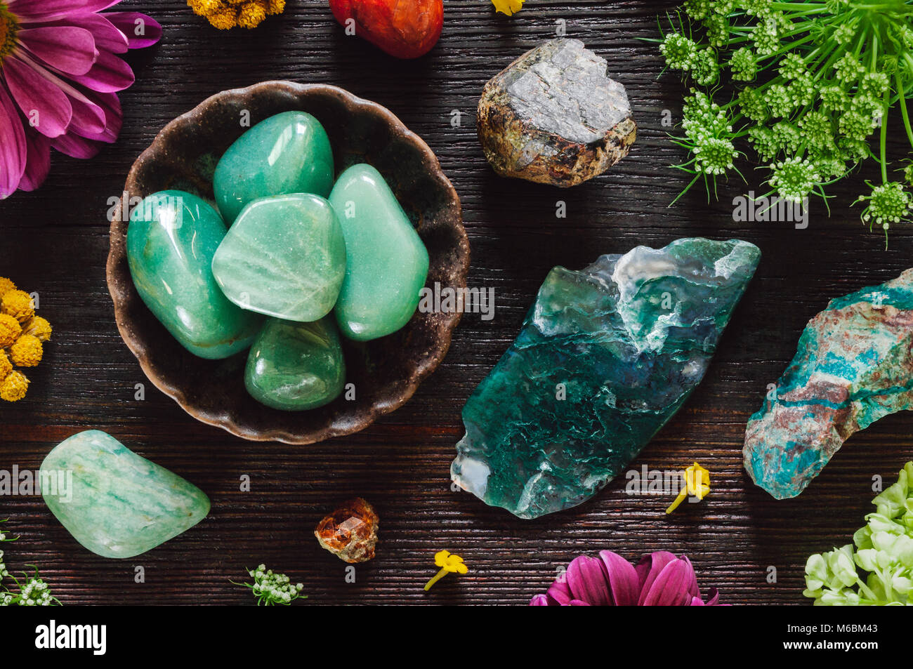 Stones of Virgo, including Carnelian, Green Aventurine, Amazonite, Garnet, Chrysocolla and Moss Agate - Stock Image