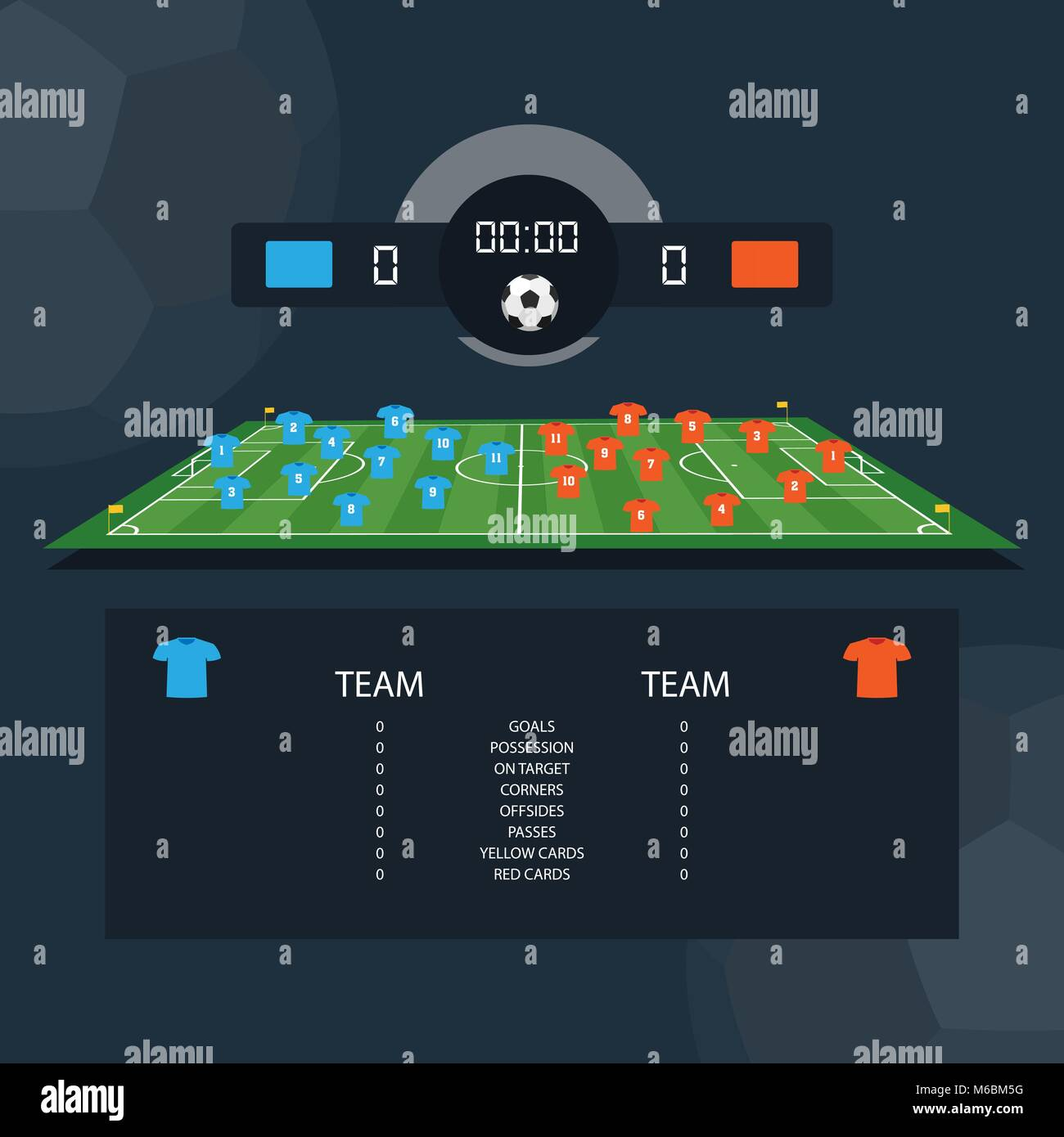 Soccer match scoreboard and statistics plan between two example teams. Flat design. Vector illustration - Stock Image