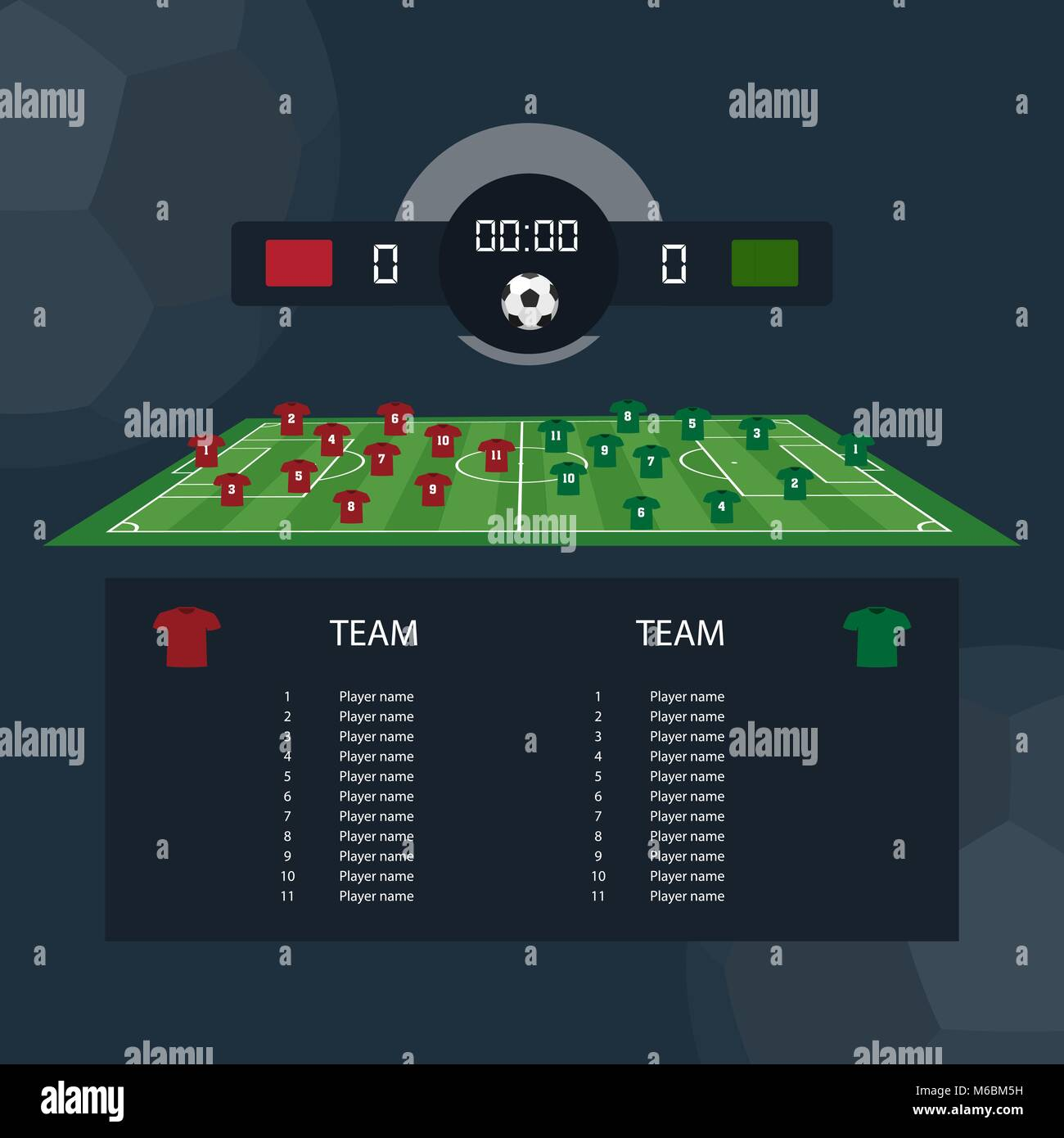 Soccer match scoreboard flat design between two example teams. Vector illustration - Stock Image
