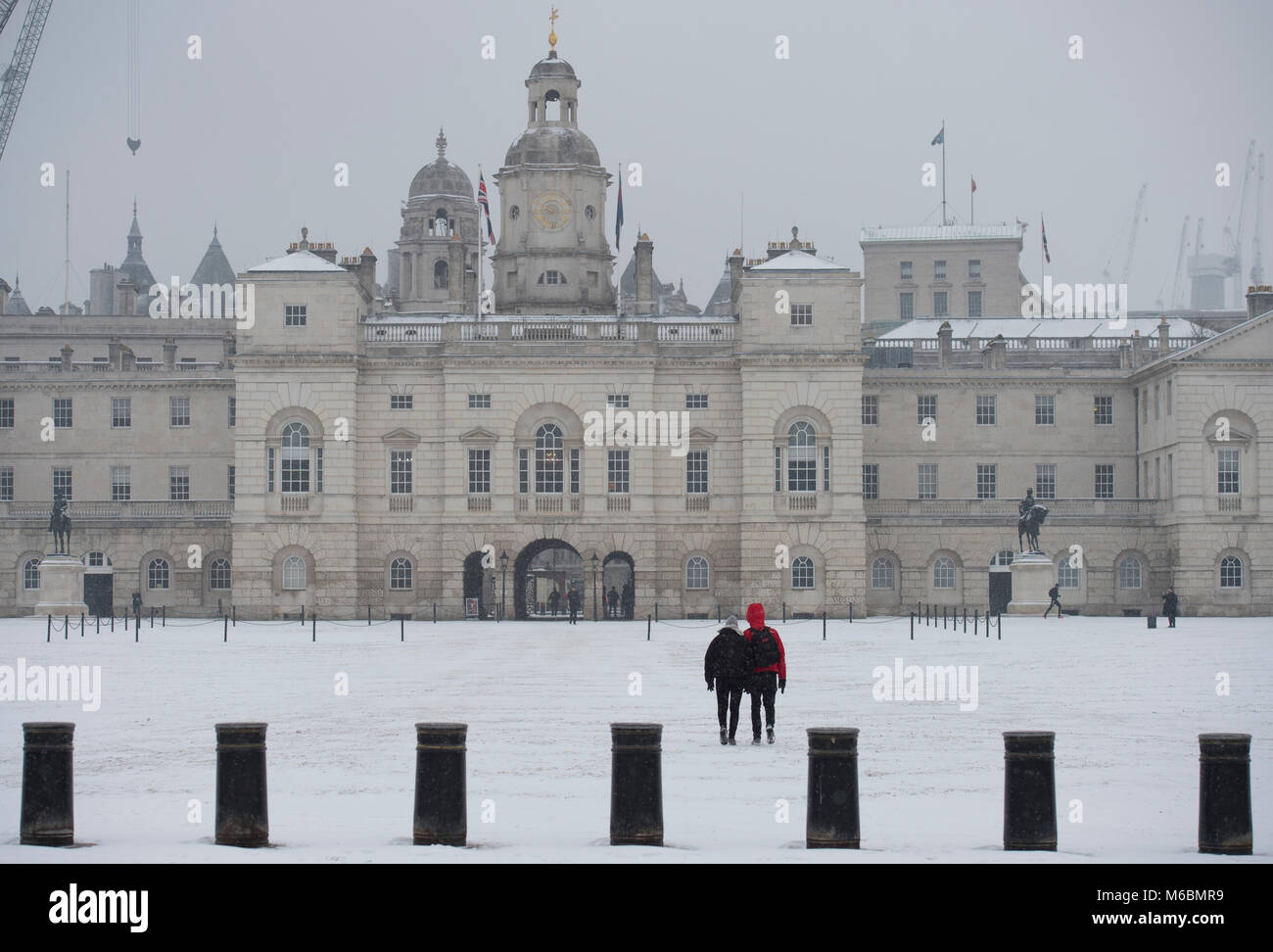 Horse Guards, London, UK. 1 March 2018. Overnight snow covers Horse Guards Parade. - Stock Image