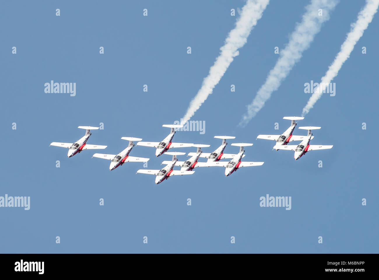 The Snowbirds, the Canadian Forces Aerobatic team, performing over Niagara-on-the-Lake as part of the Canada 150 Stock Photo