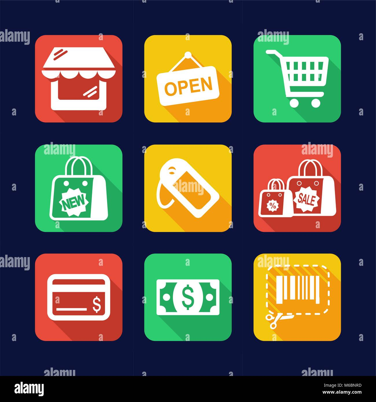 Shopping Icons Flat Design - Stock Vector