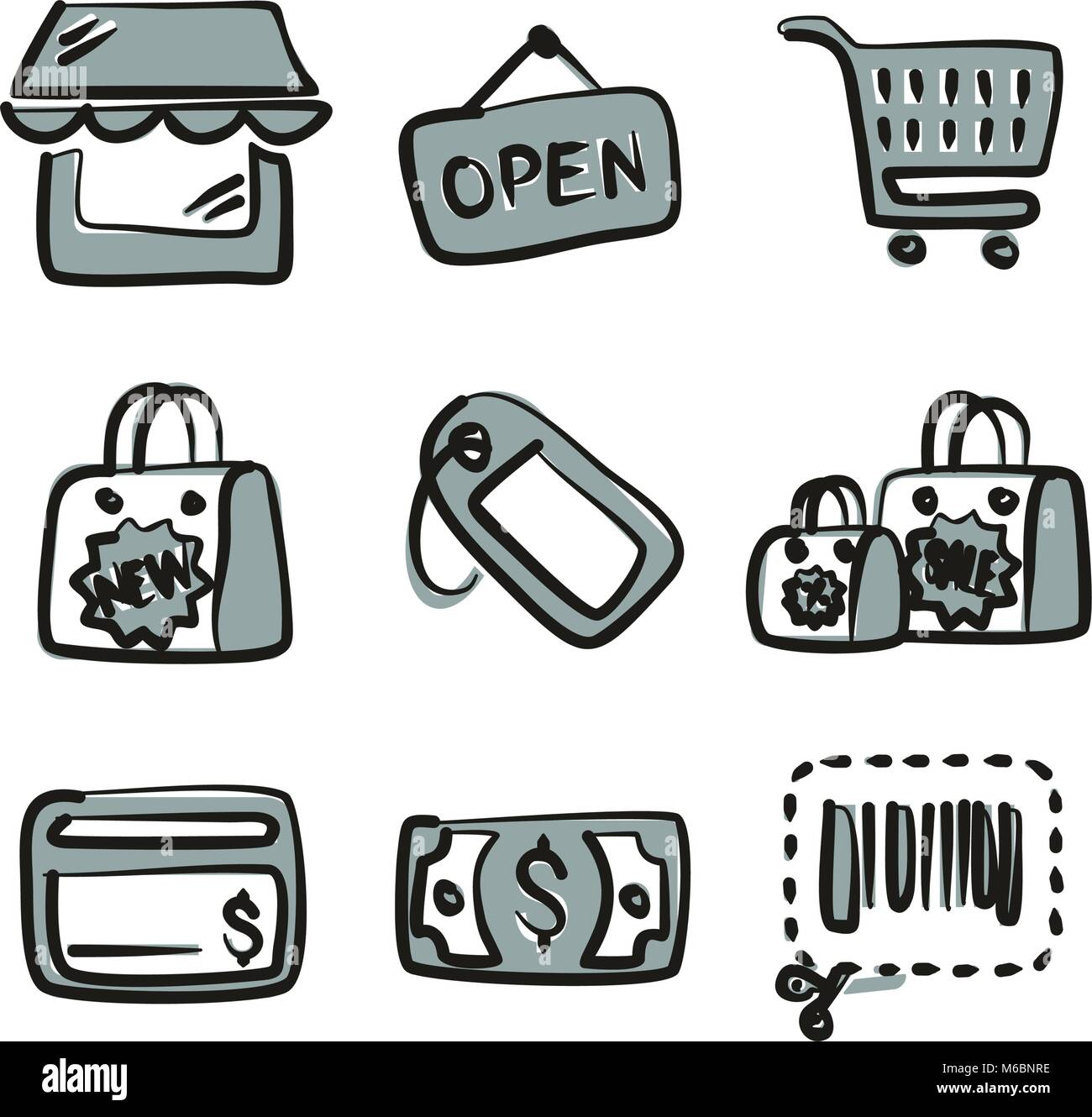 Shopping Icons Freehand 2 Color - Stock Vector