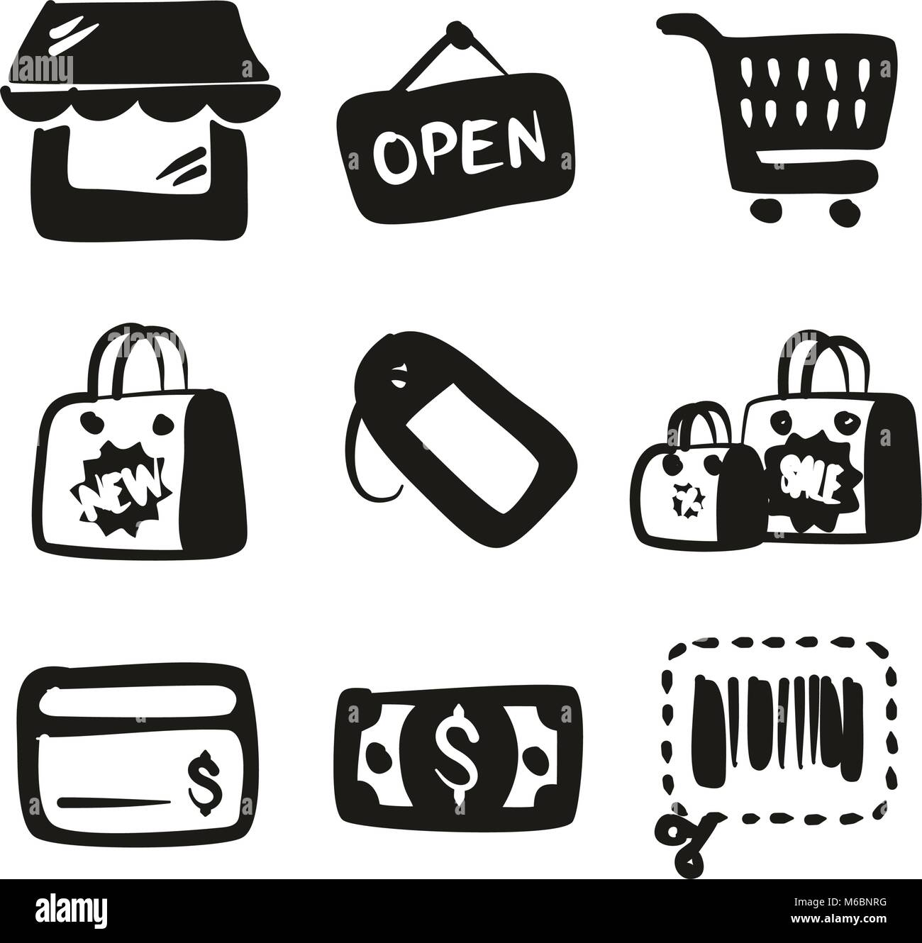 Shopping Icons Freehand Fill - Stock Vector
