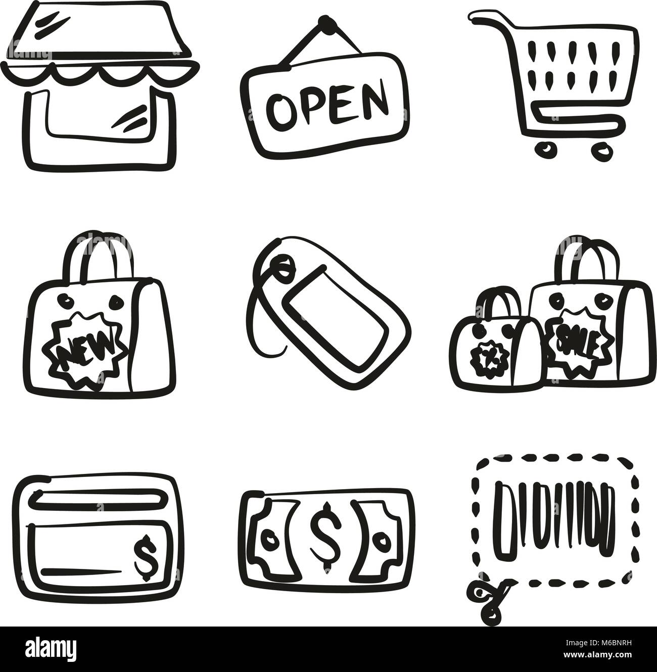 Shopping Icons Freehand - Stock Vector