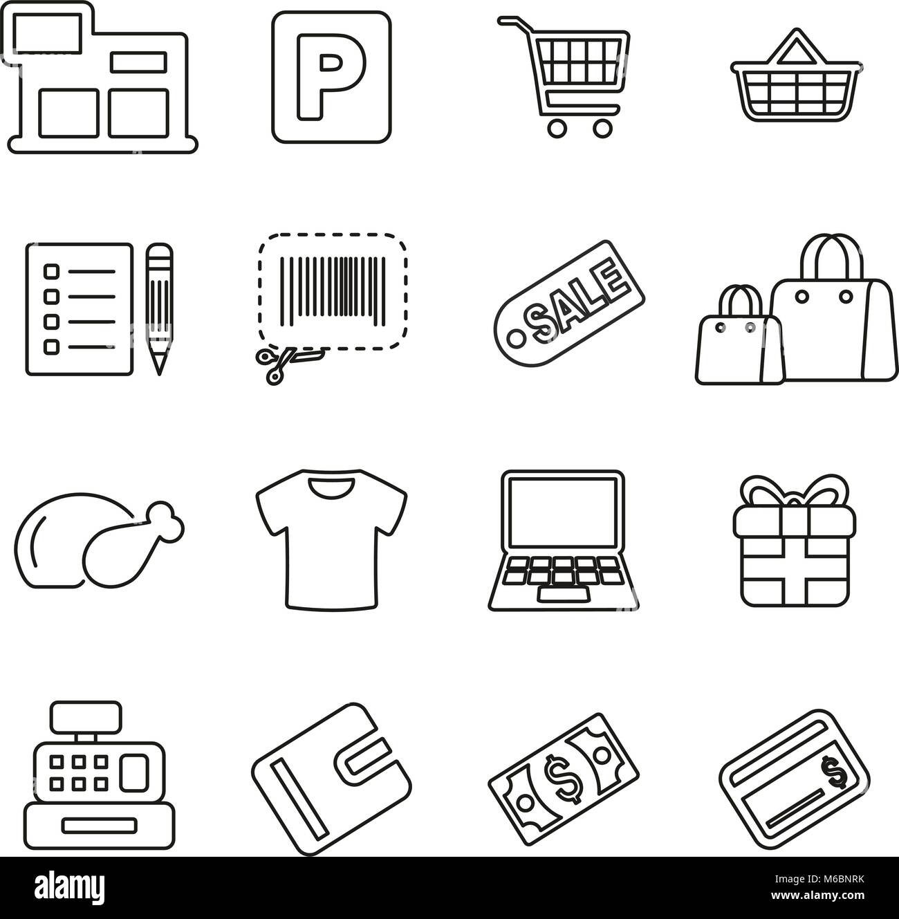 Shopping Mall or Supermarket Icons Thin Line Vector Illustration Set - Stock Vector