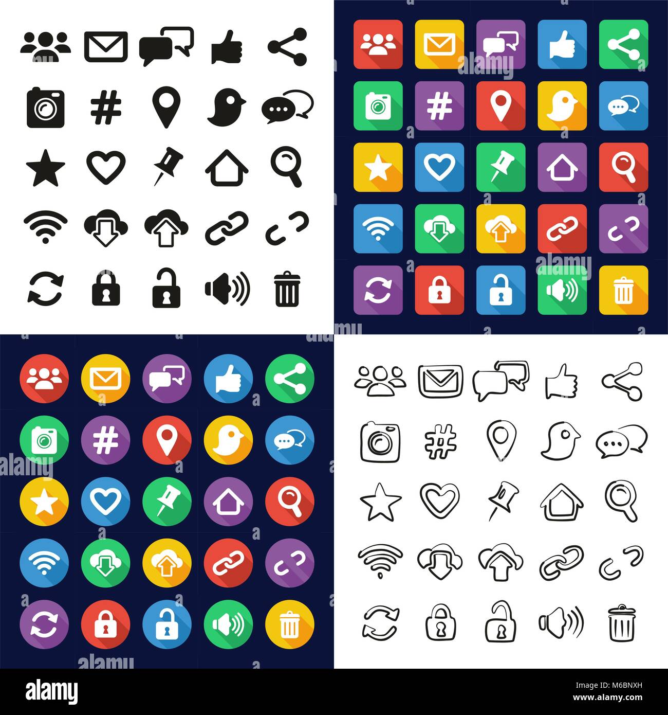 Social Media All In One Icons Black White Color Flat Design Stock Vector Image Art Alamy