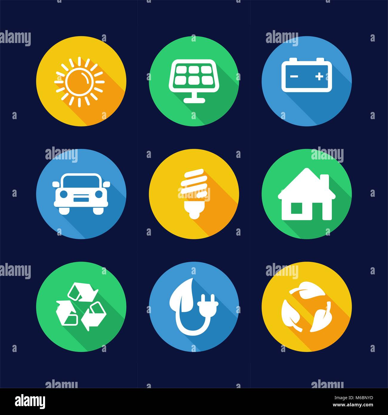Solar Energy Icons Flat Design Circle - Stock Vector