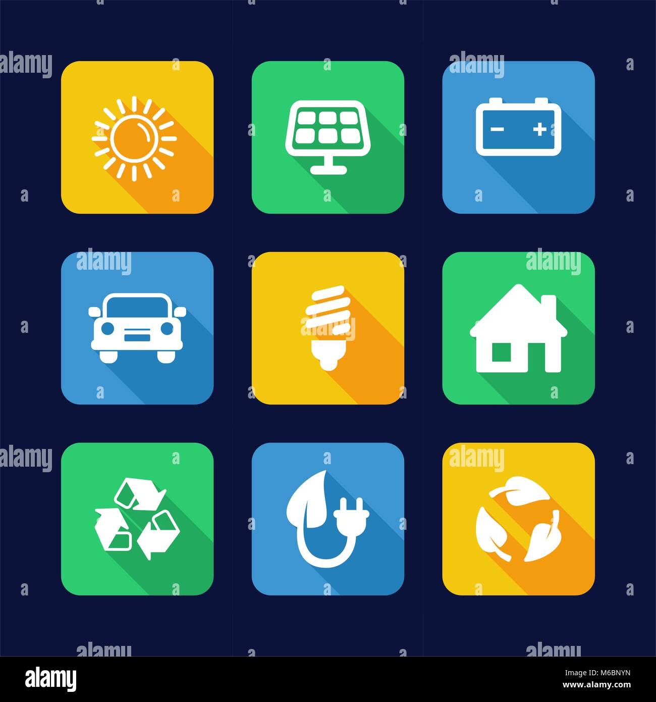 Solar Energy Icons Flat Design - Stock Vector