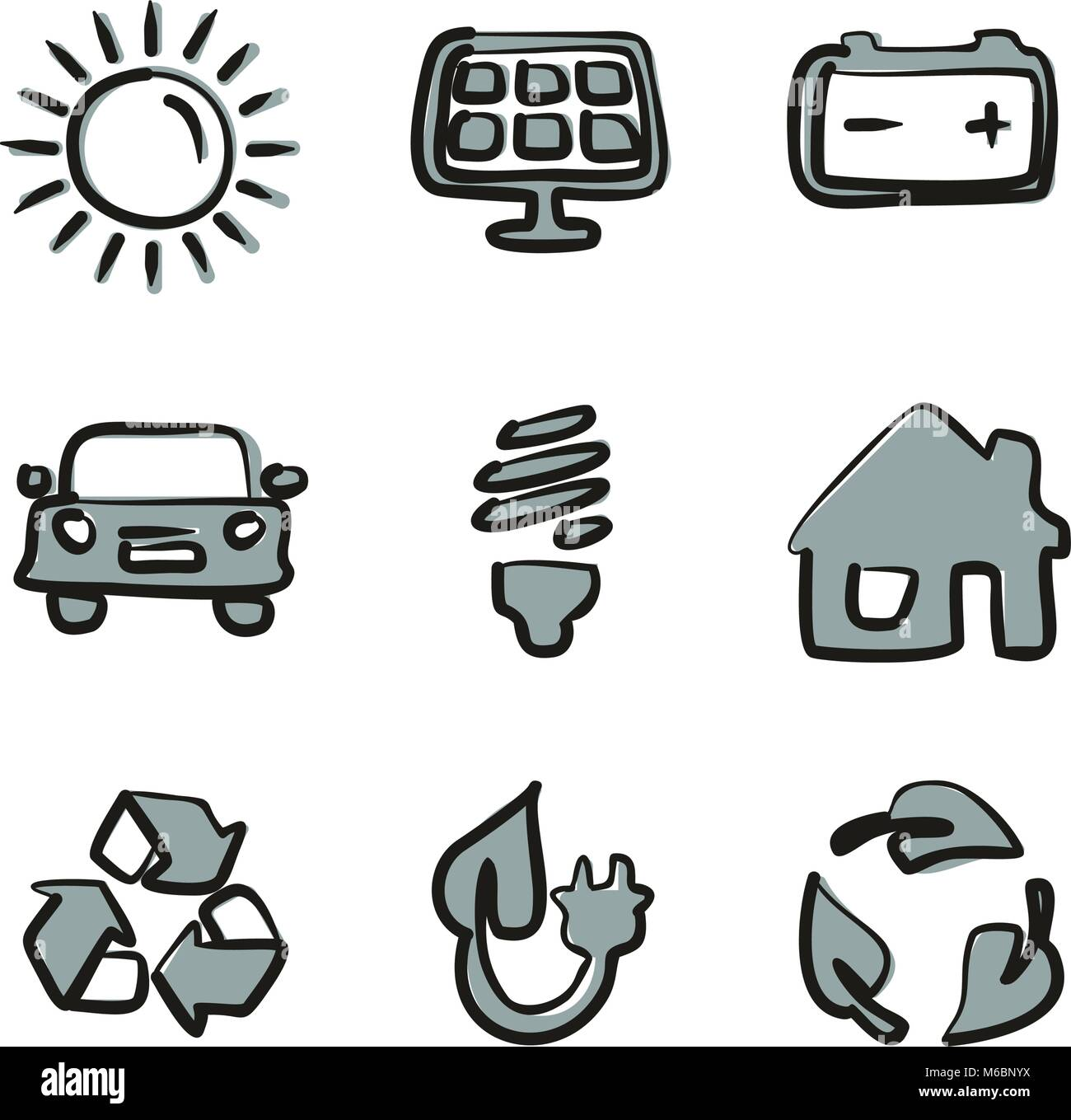 Solar Energy Icons Freehand 2 Color - Stock Vector