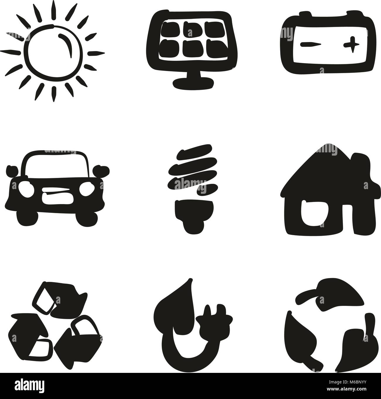 Solar Energy Icons Freehand Fill - Stock Vector