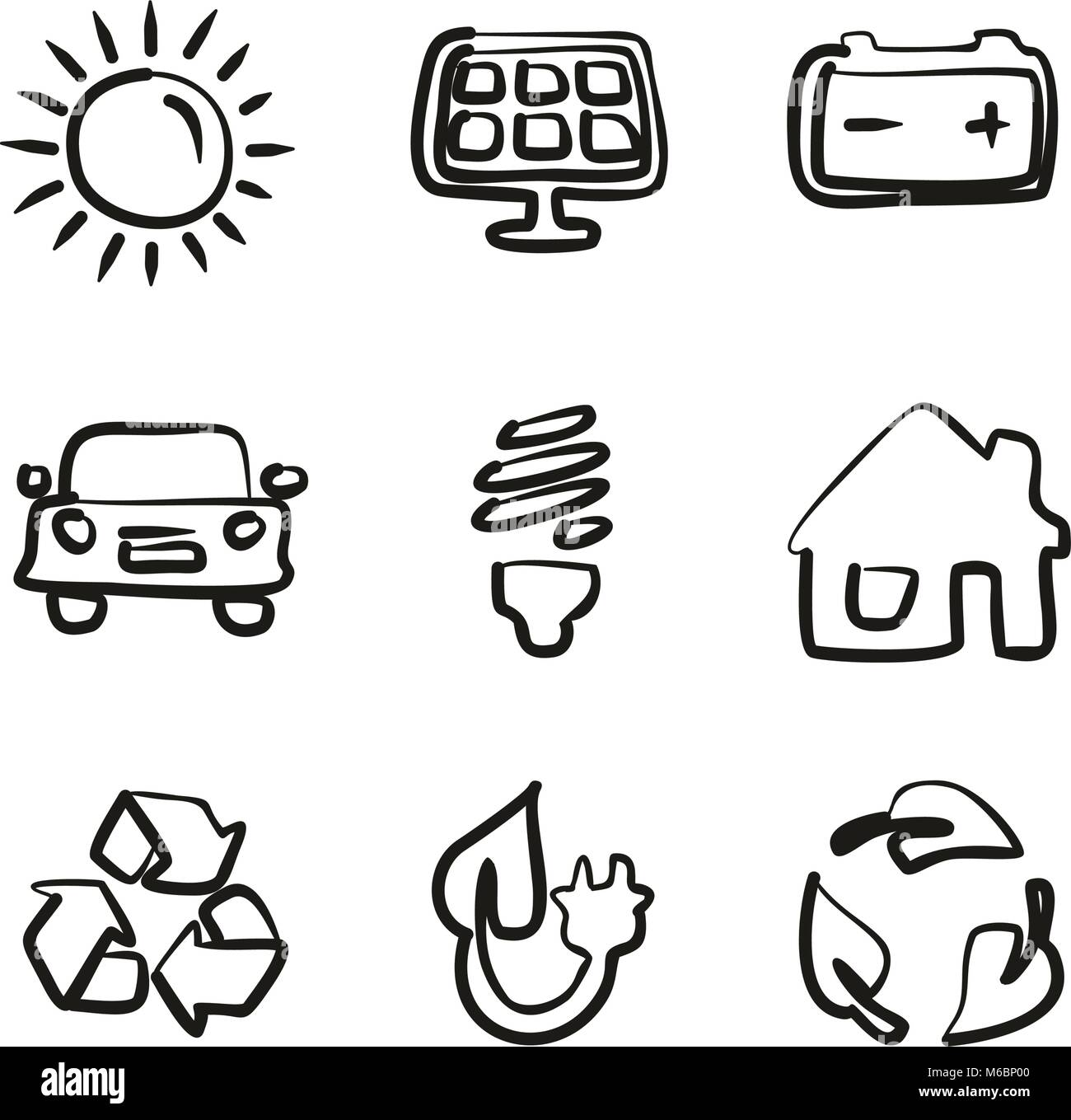 Solar Energy Icons Freehand - Stock Vector