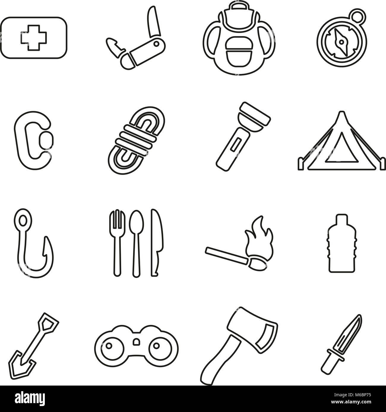 Survival Kit Icons Thin Line Vector Illustration Set Stock Vector Image Art Alamy