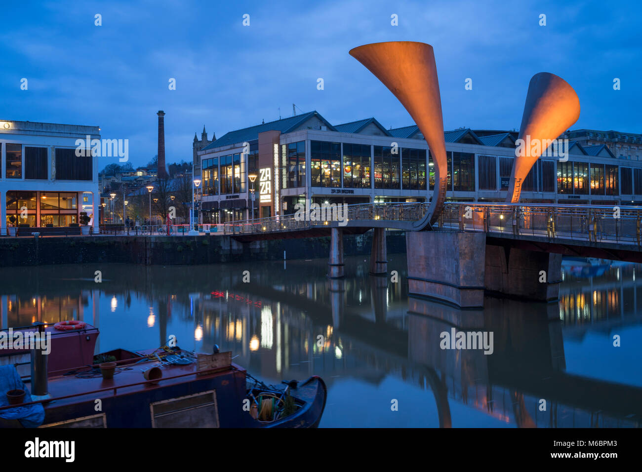 Pero's Bridge, named after Pero Jones, who lived in Bristol as the slave of John Pinney, Bristol floating harbour, - Stock Image