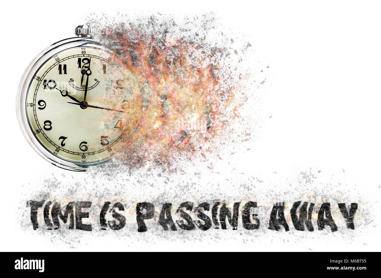 Time is running out concept shows clock that is dissolving away into little particles. Stock Photo