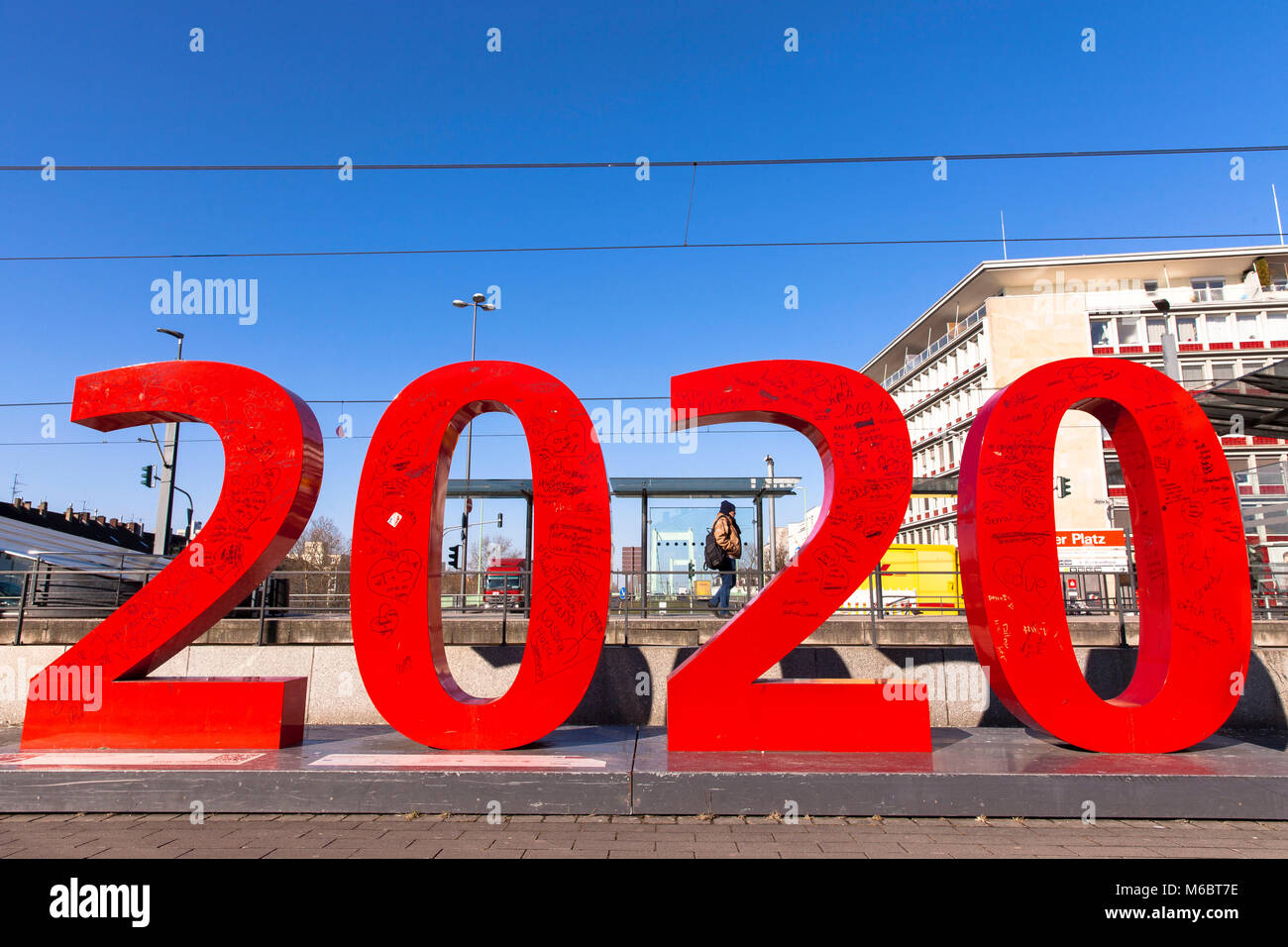 Germany, Cologne, logo of the structural funding program Muelheim 2020 on the Wiener square in the district Muelheim. - Stock Image