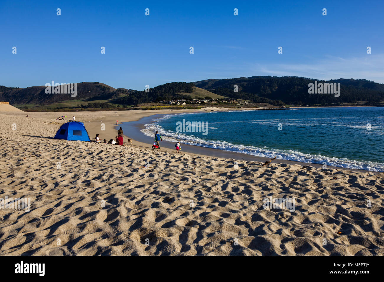 camping on the beach at carmel by the sea, california, usa stock