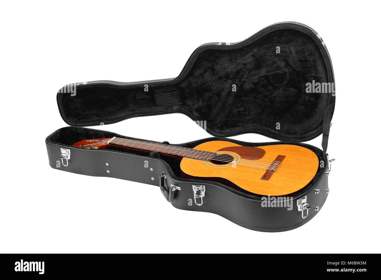 Musical instrument - Classic guitar hard case isolated on a white background. Stock Photo
