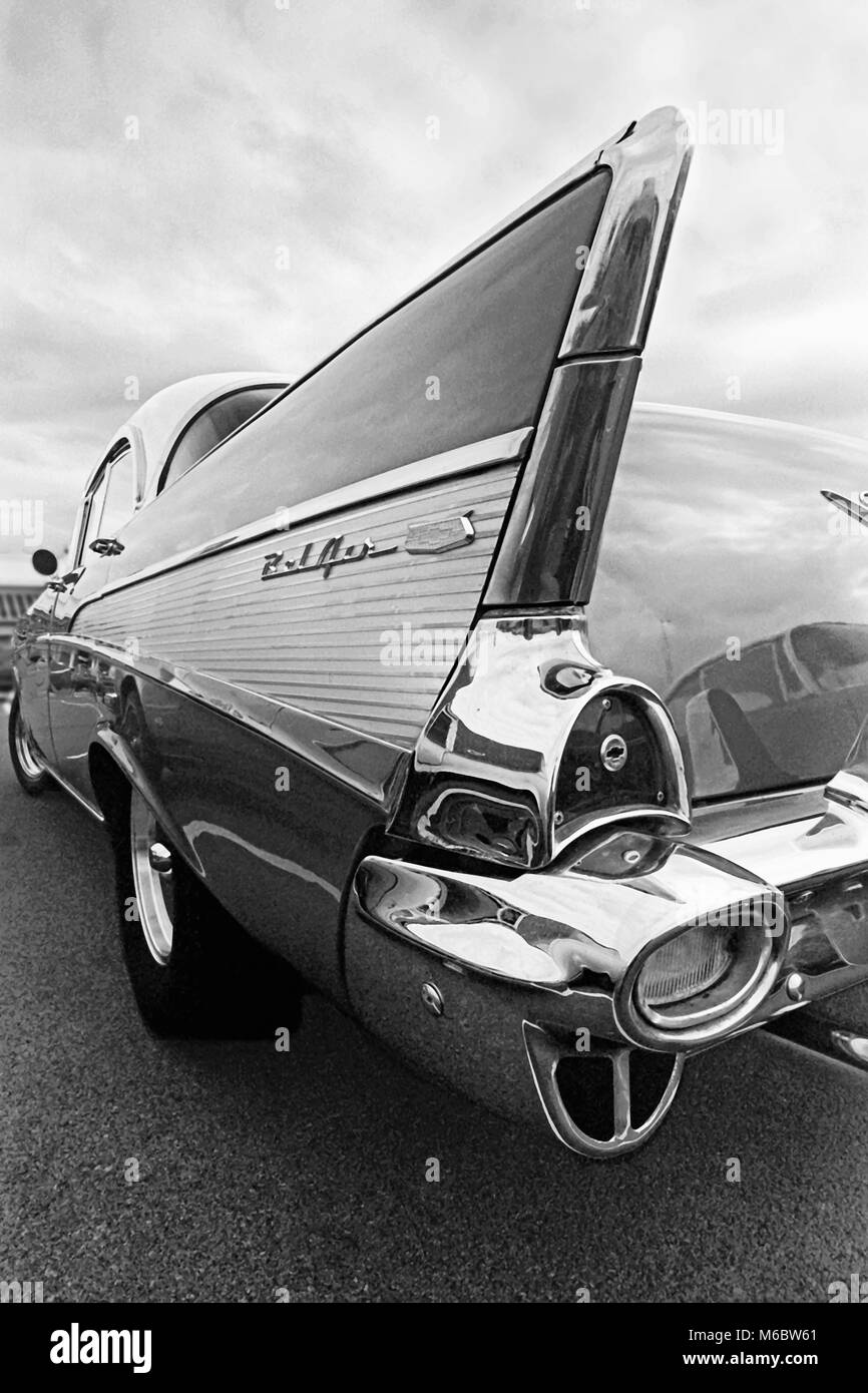 Tailfin on 1956Chevrolet Bel Air, classic American car, Middlesbrough, England, UK - Stock Image