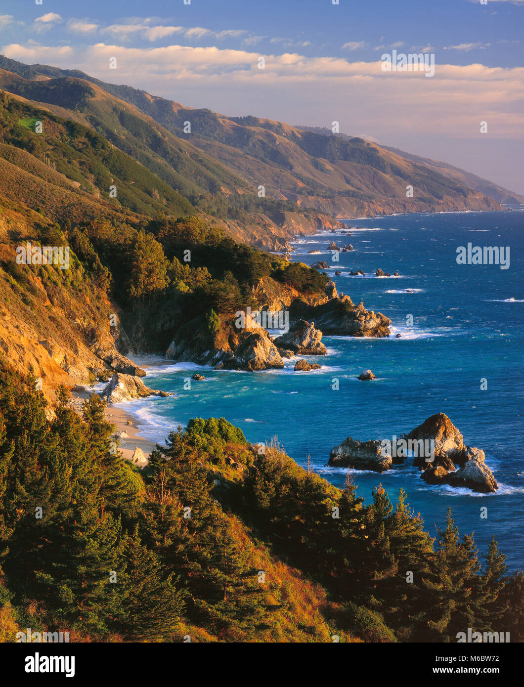 Coastline, Pfeiffer-Burns State Park, Big Sur, Monterey County, California - Stock Image
