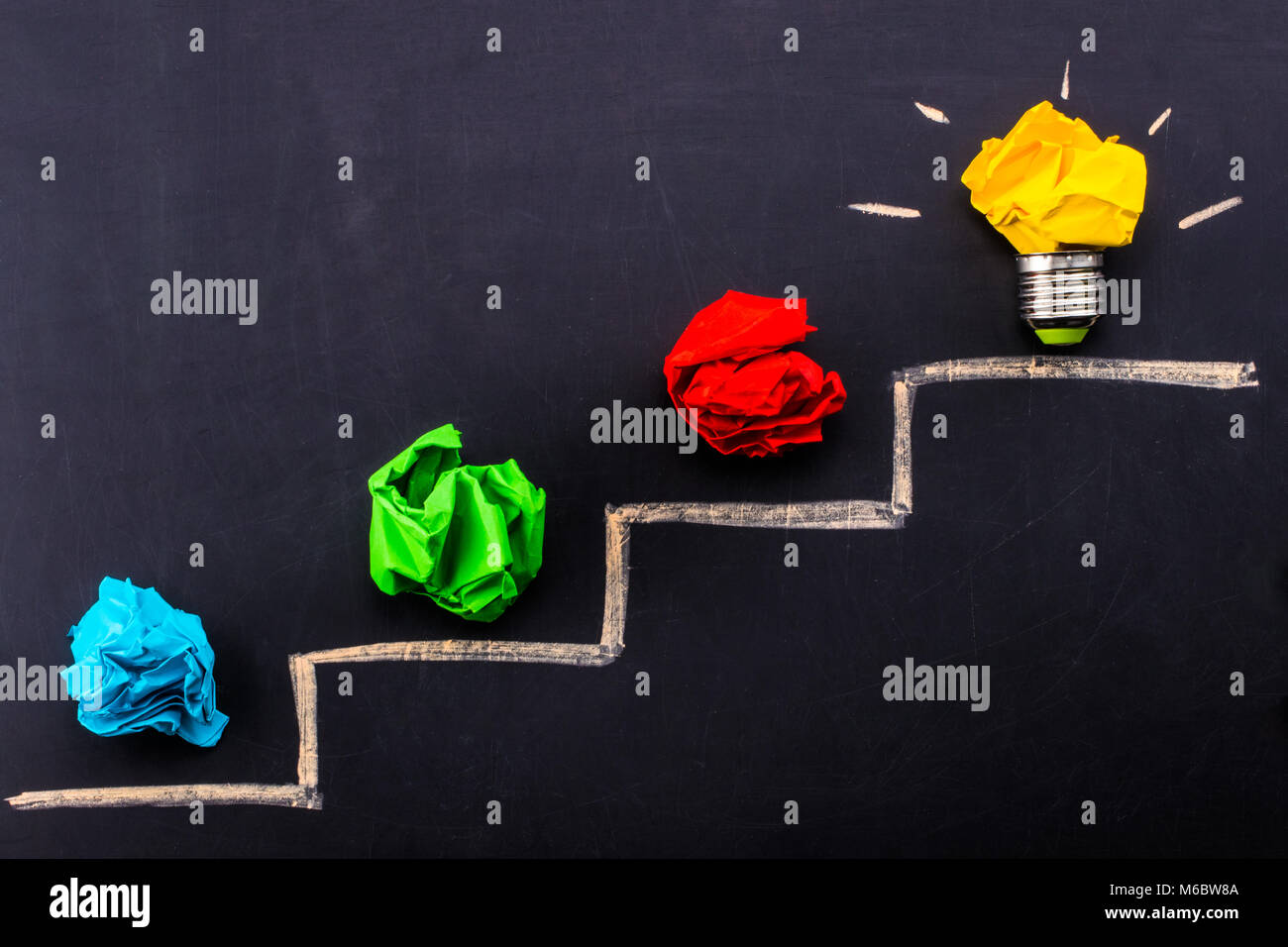Evolving idea concept with colorful crumpled paper and light bulb on steps drawn on blackboard. - Stock Image