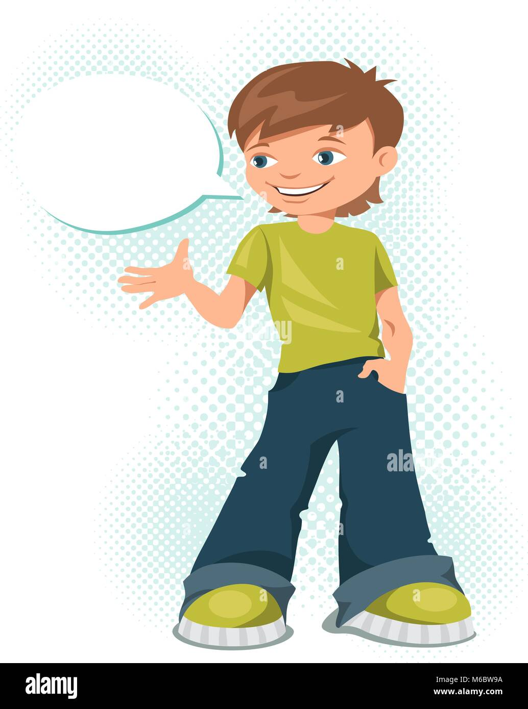 Young teen boy says something - Stock Vector
