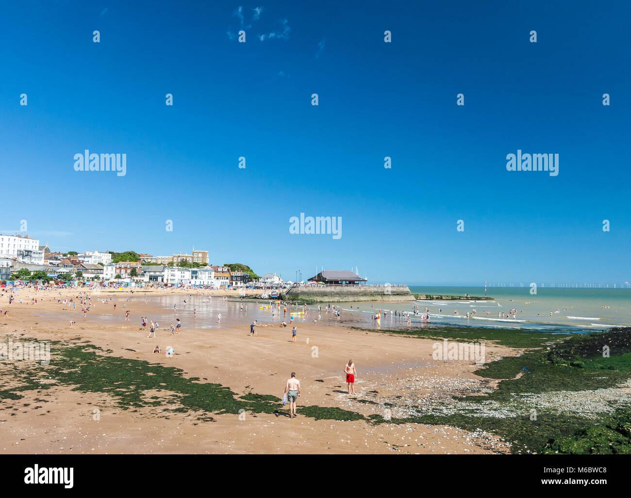 people having fun on Viking Bay Beach, Broadstairs, Kent, England - Stock Image