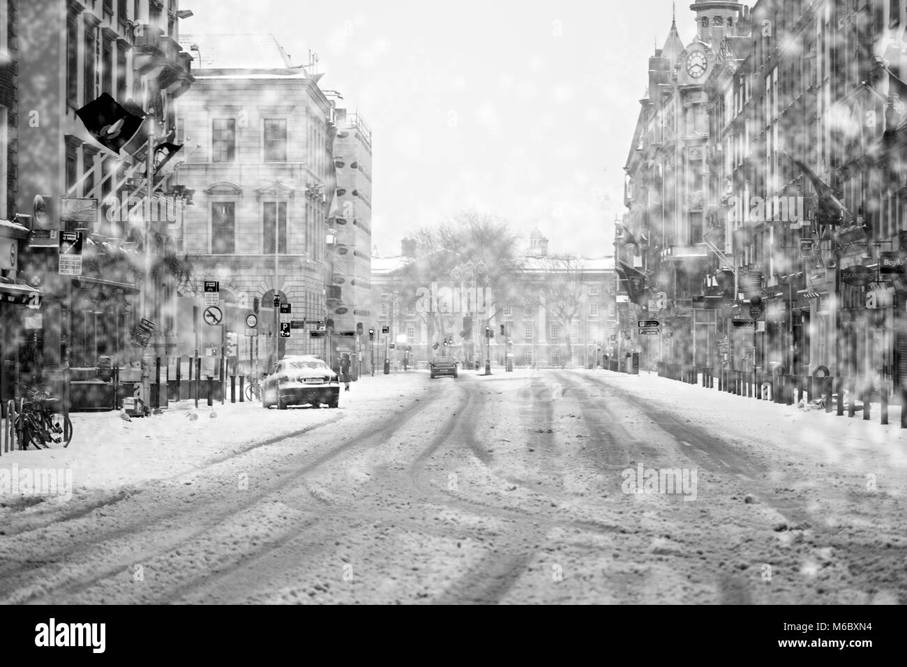 Dublin/Ireland 03/02/2018 Dame street during storm Emma. Beast from the East - Stock Image