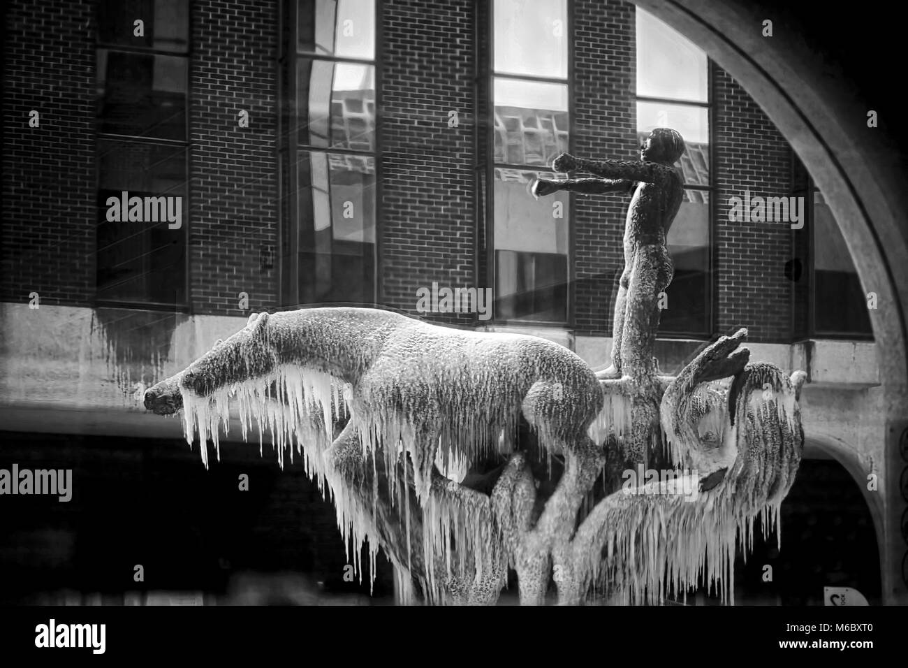 Dublin/Ireland 03/02/2018 Frozen Chariot of life fountain on Abbey Street in front of Irish Life. Storm Emma, Beast - Stock Image