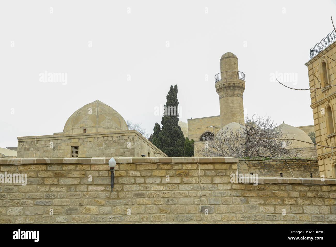 Ancient mosque in Baku, Old mosque, Ancient mosque in Icheri sheher . Shirvanshah kervansaray in Baku, Azerbaijan. - Stock Image