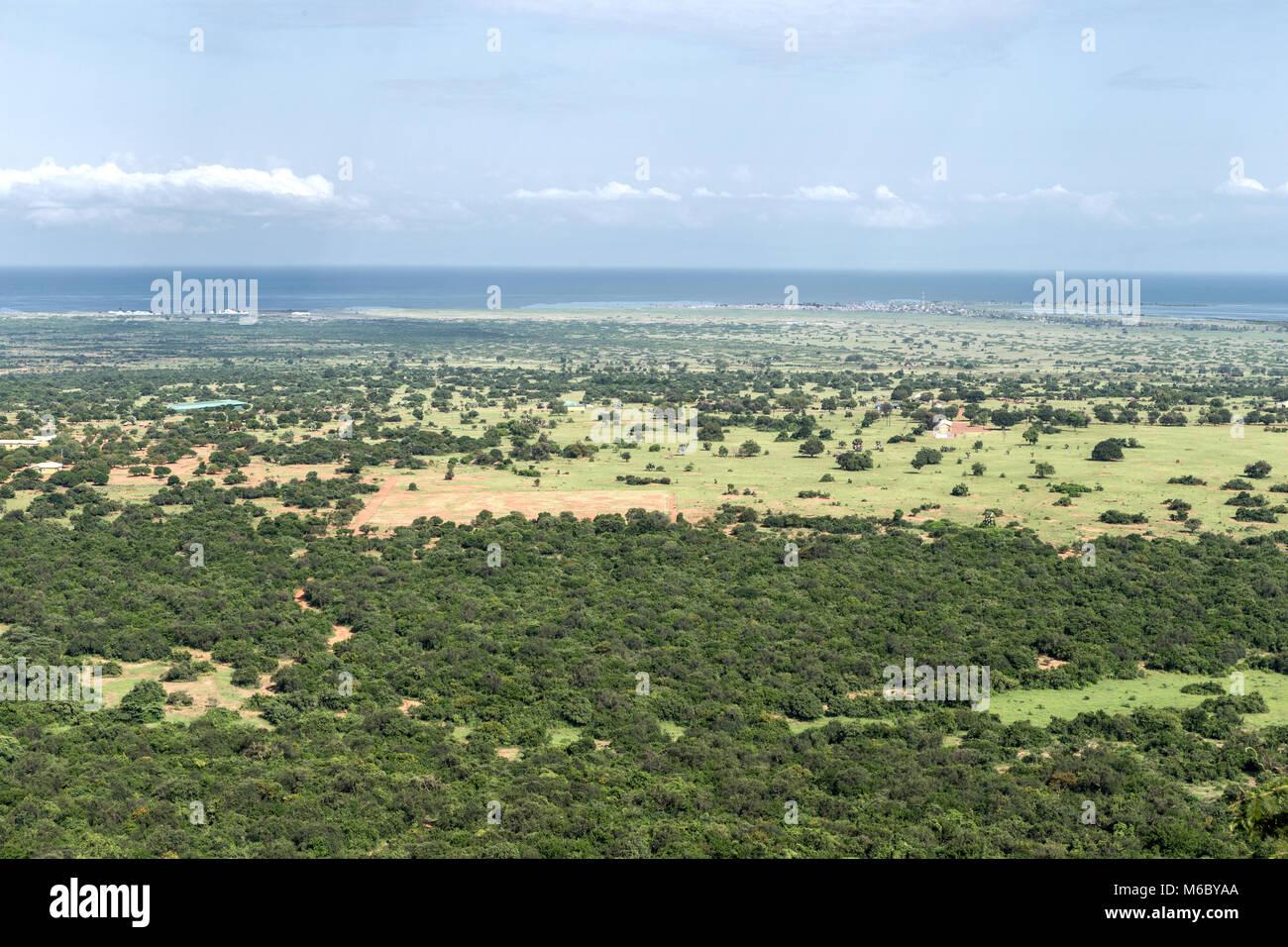 Overlooking Great Rift Valley,  Queen Elizabeth National Park including Lake Albert (distance), Uganda, Africa Stock Photo