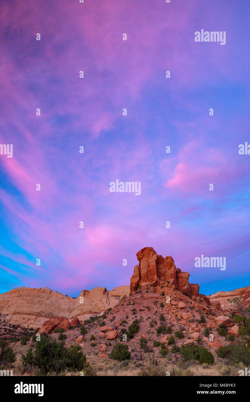 Sunset, Muley Twist Canyon, Capitol Reef National Park, Utah - Stock Image