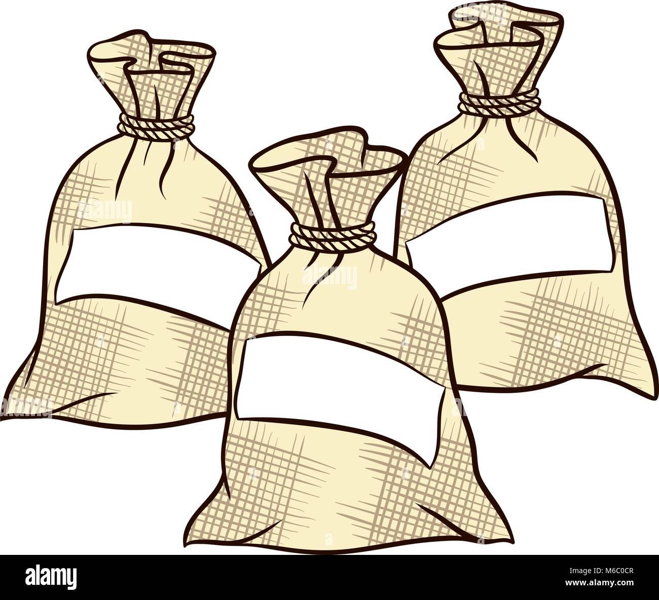 Vector sacks of flour, sugar and salt - Stock Vector