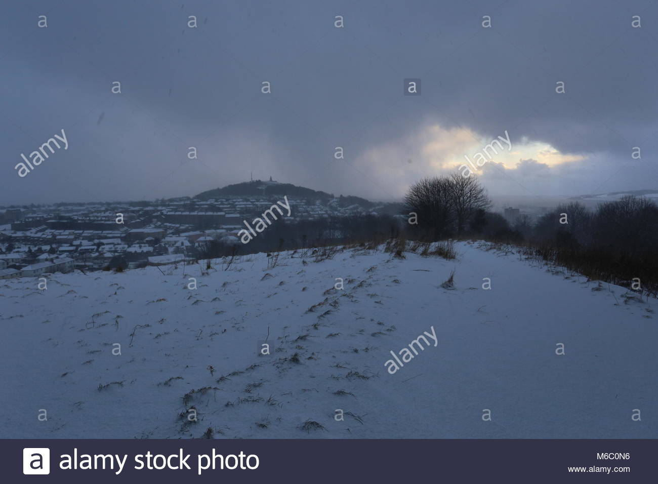 Dundee Law viewed from Balgay Hill with snow Dundee Scotland  March 2018 - Stock Image