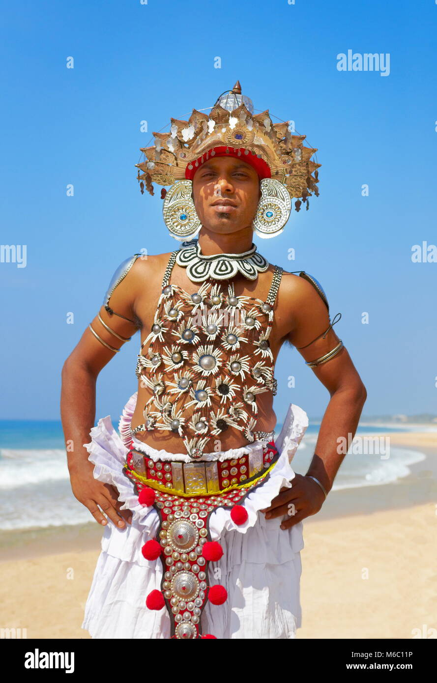 Local dancer dressed in traditional costume, Sri Lanka - Stock Image