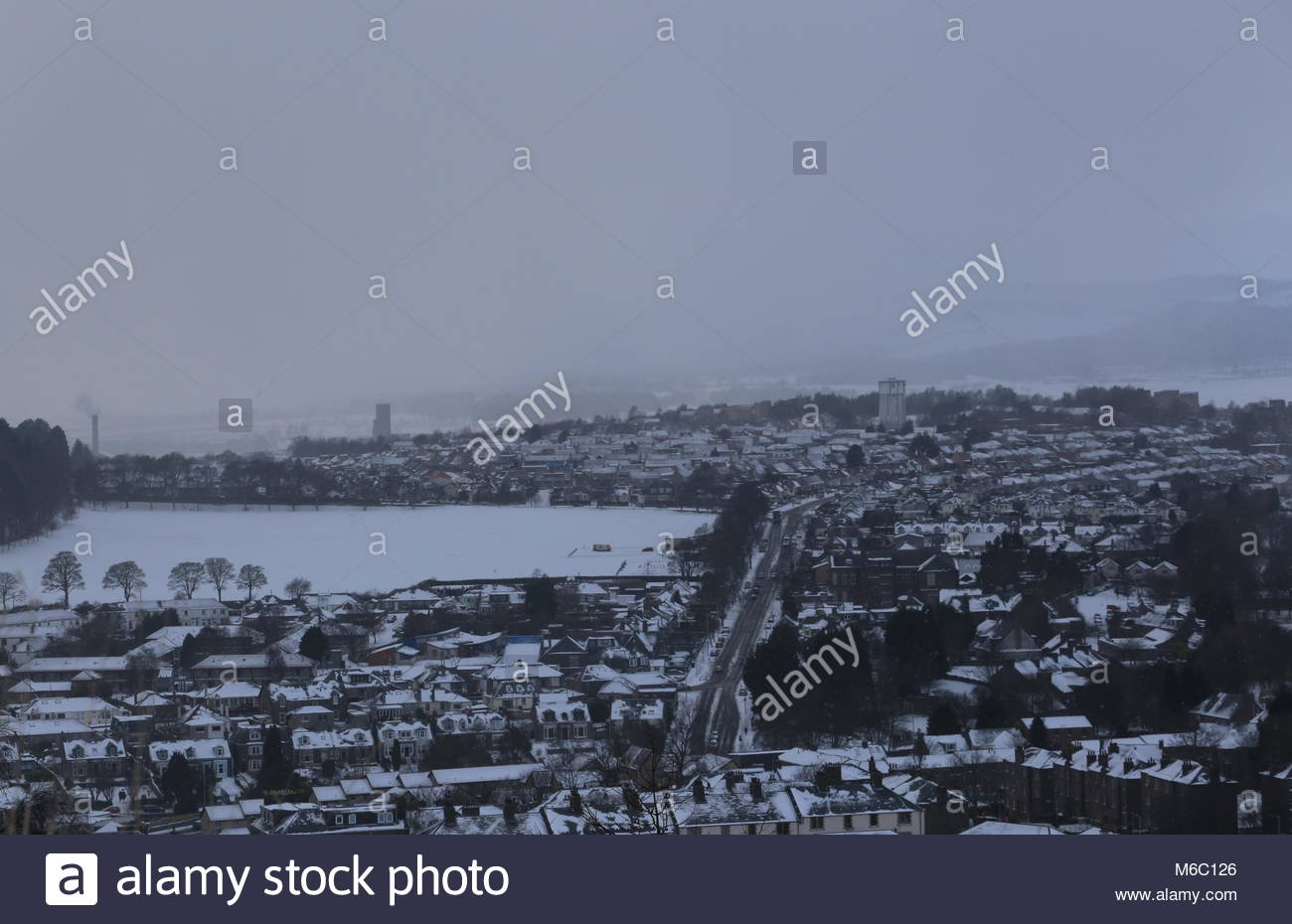 Elevated view of Lochee Park from Dundee Law Scotland  March 2018 - Stock Image