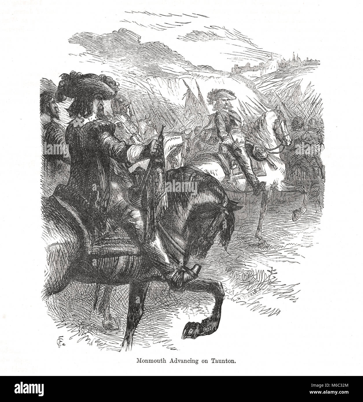 James Scott, 1st Duke of Monmouth advancing on Taunton.  The  Monmouth Rebellion of 1685 - Stock Image