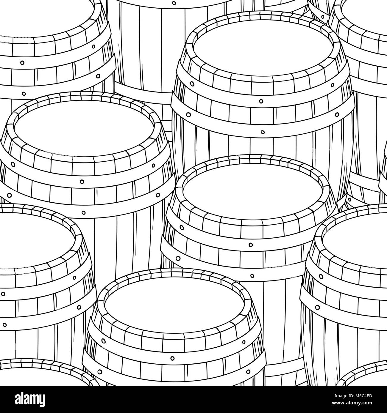 Barrel and cup seamless background. Vector illustration Stock Vector