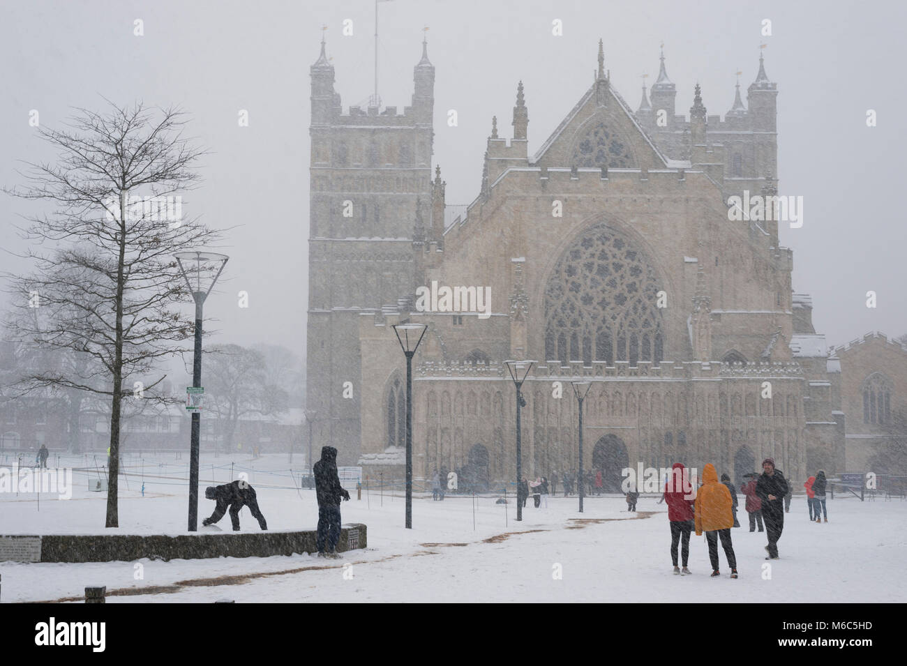 Exeter, Devon, UK. March 1st 2018. The Beast from the East meets Storm Emma in Exeter as a red weather warning is - Stock Image