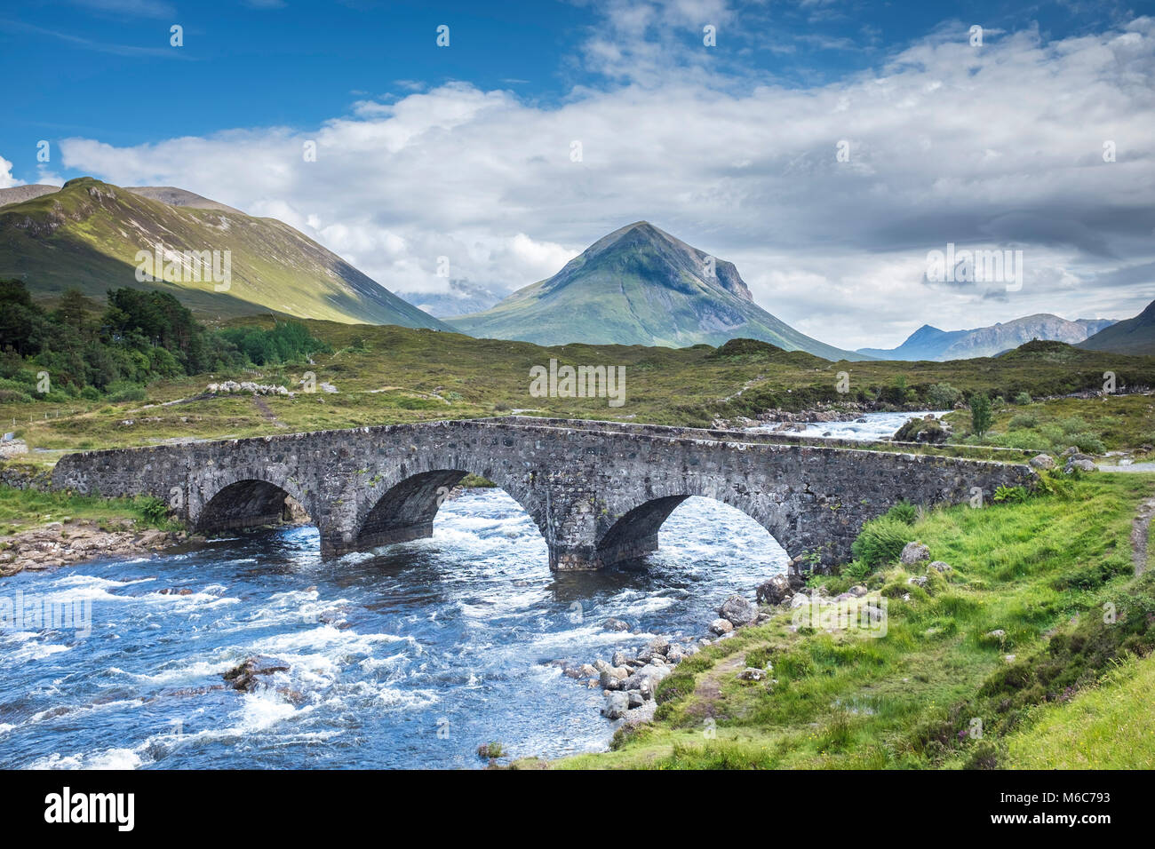 View of Sligachen Old Bridge over River Sligachan, Isle Of Skye Stock Photo