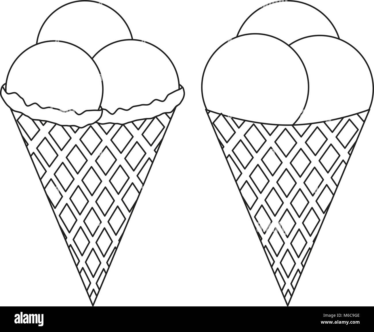 Double Portion Ice Cream Cone Icon Isolated On White Stock Photo ... for Ice  Cream Cone Clipart Black And Whit…   Clipart black and white, Old map, Ice  cream images